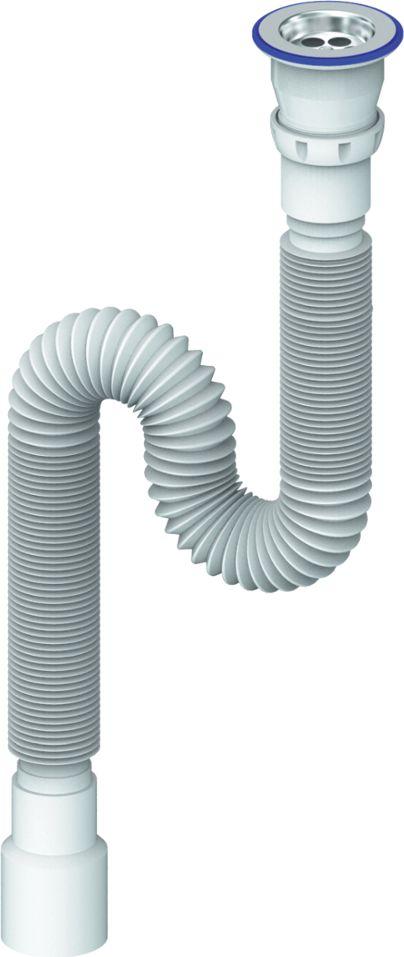 Unicorn Гофросифон универсальный 1200 мм 1.1/2х40/50. D230BL505Сифон гофрированный 1200 мм с прикручивающимся выпуском 1 1/2 (диаметр 40)- с винтом 6х70- с нержавеющей чашкой диаметр 40 х 40/50Применение- гофра для соединения узлов