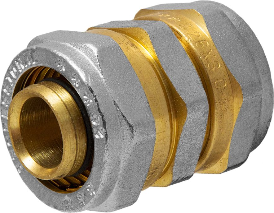 Соединитель RVC, ц/ц, 26 х 26 ммBL505Соединитель RVC предназначен для соединения металлопластиковых труб. При установке данного фитинга не требуется специальное оборудование, достаточно разводного ключа. Соединение получается разъемным, что позволяет при необходимости произвести обслуживание участка трубопровода. Для обслуживания самого фитинга достаточно сменить уплотнительные кольца. Рабочая температура до 95 С, нормативное рабочее давление до 10 бар. Материал корпуса - никелированная латунь CW617N.