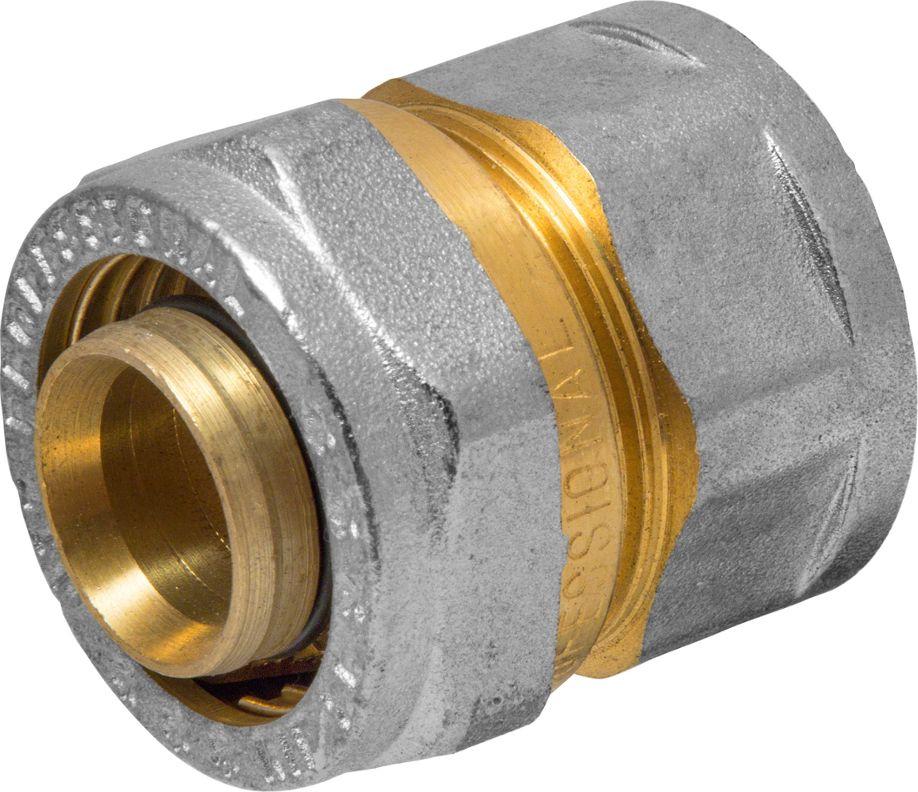 Соединитель RVC, ц/г, внутренняя резьба 26 мм х 3/42555Соединитель RVC предназначен для соединения металлопластиковых труб. При установке данного фитинга не требуется специальное оборудование, достаточно разводного ключа. Соединение получается разъемным, что позволяет при необходимости произвести обслуживание участка трубопровода. Для обслуживания самого фитинга достаточно сменить уплотнительные кольца. Рабочая температура до 95 С, нормативное рабочее давление до 10 бар. Материал корпуса - никелированная латунь CW617N.