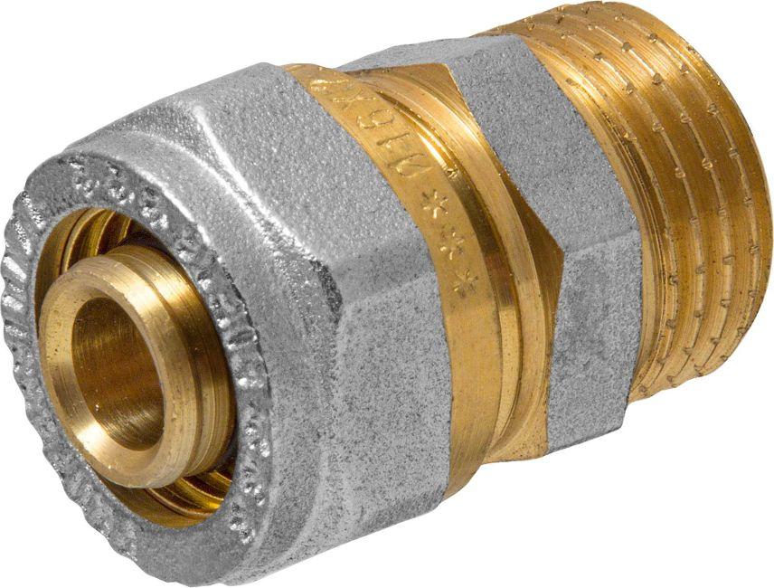 RVC Соединитель (патрубок) 16х1/2 ц/ш RCBL505Соединитель (патрубок) предназначен для соединения металлопластиковых труб. При установке данного фитинга не требуется специальное оборудование, достаточно разводного ключа. Соединение получается разъемным, что позволяет при необходимости произвести обслуживание участка трубопровода. Для обслуживания самого фитинга достаточно сменить уплотнительные кольца. Рабочая температура до 95 С, нормативное рабочее давление до 10 бар. Материал корпуса - никелированная латунь CW617N.