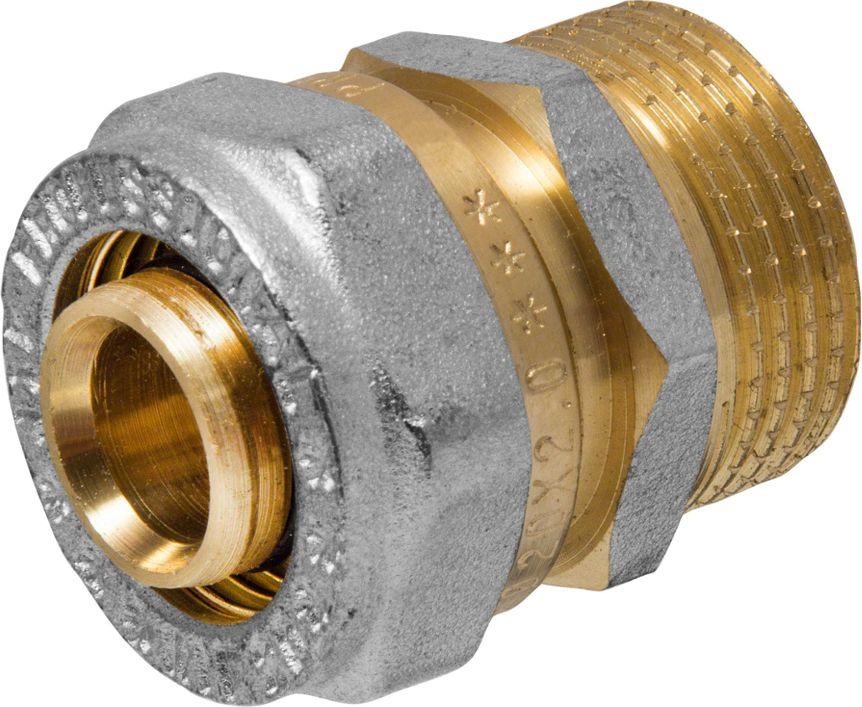 Соединитель RVC, ц/ш, наружная резьба 20 мм х 3/4ИС.110315Соединитель RVC предназначен для соединения металлопластиковых труб. При установке данного фитинга не требуется специальное оборудование, достаточно разводного ключа. Соединение получается разъемным, что позволяет при необходимости произвести обслуживание участка трубопровода. Для обслуживания самого фитинга достаточно сменить уплотнительные кольца. Рабочая температура до 95 С, нормативное рабочее давление до 10 бар. Материал корпуса - никелированная латунь CW617N.