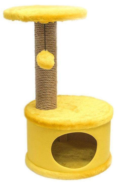Домик-когтеточка Дарэлл Конфетти, круглый, цвет: желтый, 37 х 37 х 73 см81101Домик-когтеточка Дарэлл Конфетти круглой формы с полкой, на которую подвешен помпон в цвет домика. Изготовлен из ДСП и фанеры, обработанных искусственным мехом и экокожей. Столбик-когтеточка обмотан джутом. Благодаря простоте формы и цветовым оттенкам домик легко впишется в любой интерьер. Для удобства в перевозке, домик легко собирается и разбирается.В комплект входят инструкция и ключ для сборки.