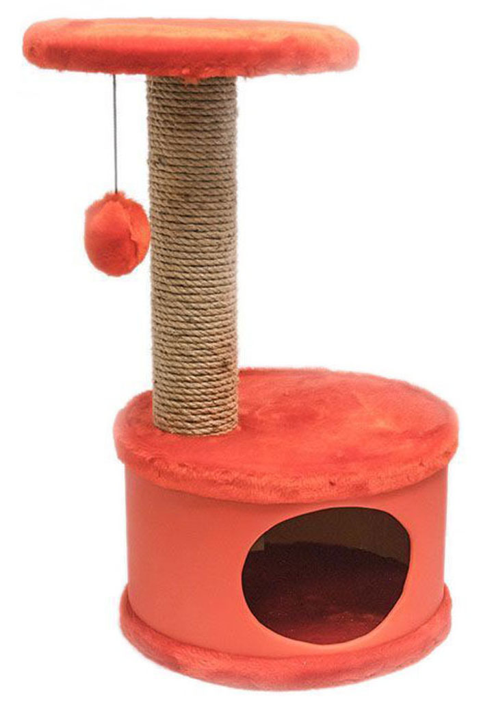 Домик-когтеточка Дарэлл Конфетти, круглый, цвет: красный, 37 х 37 х 73 см0120710Домик-когтеточка Дарэлл Конфетти круглой формы с полкой, на которую подвешен помпон в цвет домика. Изготовлен из ДСП и фанеры, обработанных искусственным мехом и экокожей. Столбик-когтеточка обмотан джутом. Благодаря простоте формы и цветовым оттенкам домик легко впишется в любой интерьер. Для удобства в перевозке, домик легко собирается и разбирается.В комплект входят инструкция и ключ для сборки.