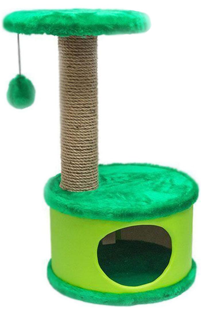 Домик-когтеточка круглый Дарэлл Конфетти, цвет: зеленый, 37 х 37 х 73 см0120710Домик-когтеточка круглой формы с полкой, на которую подвешен помпон в цвет домика. Изготовлен из ДСП и фанеры, обработанные искусственным мехом и экокожей. Столбик-когтеточка обработан джутом. Благодаря простоте формы и цветовым оттенкам домик легко впишется в любой интерьер. Для удобства в перевозке, домик легко собирается и разбирается. В комплект входят инструкция и ключ для сборки.