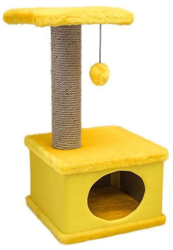 Домик-когтеточка Дарэлл Конфетти, квадратный, цвет: желтый, 41 х 37 х 70 см81111Домик-когтеточка Дарэлл Конфетти квадратной формы с квадратной полкой, на которую подвешен помпон в цвет домика.Изготовлен из ДСП и фанеры, обработанных искусственным мехом и экокожей. Столбик-когтеточка обмотан джутом. Благодаря простоте формы и цветовым оттенкам домик легко впишется в любой интерьер. Для удобства в перевозке, домик легко собирается и разбирается. В комплект входят инструкция и ключ для сборки.