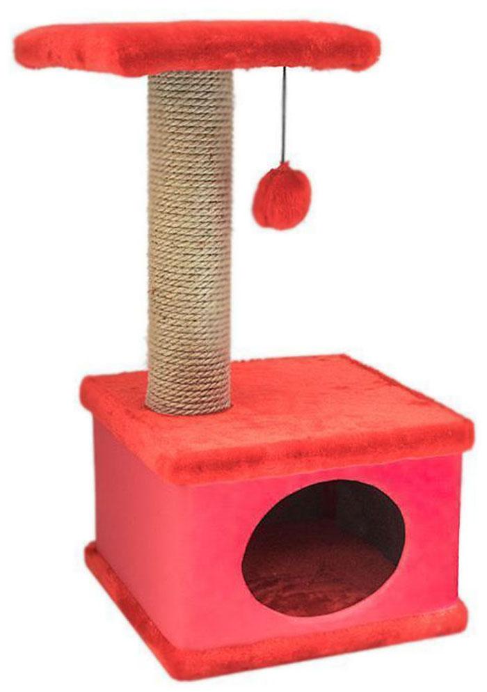 Домик-когтеточка Дарэлл Конфетти, квадратный, цвет: красный, 41 х 37 х 70 см0120710Домик-когтеточка Дарэлл Конфетти квадратной формы с квадратной полкой, на которую подвешен помпон в цвет домика.Изготовлен из ДСП и фанеры, обработанные искусственным мехом и экокожей. Столбик-когтеточка обработан джутом. Благодаря простоте формы и цветовым оттенкам домик легко впишется в любой интерьер. Для удобства в перевозке, домик легко собирается и разбирается. В комплект входят инструкция и ключ для сборки.