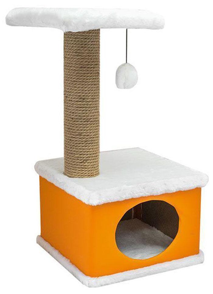 Домик-когтеточка Дарэлл Конфетти, квадратный, цвет: оранжевый, 41 х 37 х 70 см0120710Домик-когтеточка Дарэлл Конфетти квадратной формы с квадратной полкой, на которую подвешен помпон в цвет домика.Изготовлен из ДСП и фанеры, обработанных искусственным мехом и экокожей. Столбик-когтеточка обмотан джутом. Благодаря простоте формы и цветовым оттенкам домик легко впишется в любой интерьер. Для удобства в перевозке, домик легко собирается и разбирается. В комплект входят инструкция и ключ для сборки.
