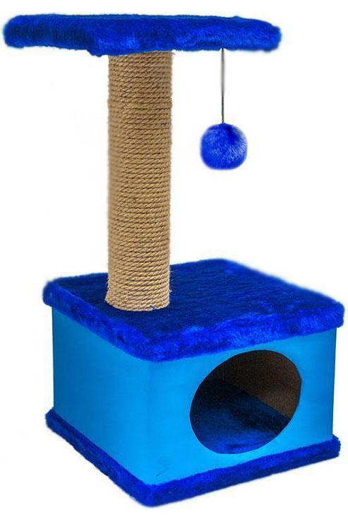 Домик-когтеточка Дарэлл Конфетти, квадратный, цвет: синий, 41 х 37 х 70 см81114Домик-когтеточка Дарэлл Конфетти квадратной формы с квадратной полкой, на которую подвешен помпон в цвет домика.Изготовлен из ДСП и фанеры, обработанных искусственным мехом и экокожей. Столбик-когтеточка обмотан джутом. Благодаря простоте формы и цветовым оттенкам домик легко впишется в любой интерьер. Для удобства в перевозке, домик легко собирается и разбирается. В комплект входят инструкция и ключ для сборки.