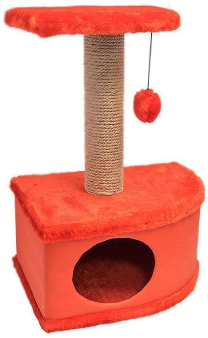 Домик-когтеточка Дарэлл Конфетти, угловой, цвет: красный, 49 х 37 х 70 см81122Домик-когтеточка Дарэлл Конфетти угловой, с фигурной полкой и помпоном в цвет домика. Изготовлен из ДСП и ДВП, обитых искусственным мехом и экокожей. Столбик-когтеточка обмотан джутом. Благодаря простоте формы и множеству цветовых оттенков, домик легко впишется в любой интерьер. Для удобства в перевозке, домик легко собирается и разбирается. В комплект входят инструкция и ключ для сборки.
