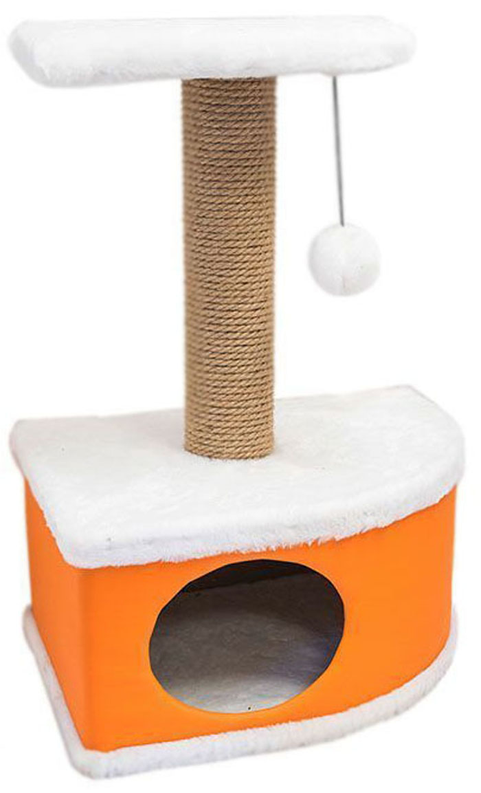 Домик-когтеточка Дарэлл Конфетти, угловой, цвет: оранжевый, 49 х 37 х 70 см0120710Домик-когтеточка Дарэлл Конфетти угловой, с фигурной полкой и помпоном в цвет домика. Изготовлен из ДСП и ДВП, обитых искусственным мехом и экокожей. Столбик-когтеточка обмотан джутом. Благодаря простоте формы и множеству цветовых оттенков, домик легко впишется в любой интерьер. Для удобства в перевозке, домик легко собирается и разбирается. В комплект входят инструкция и ключ для сборки.