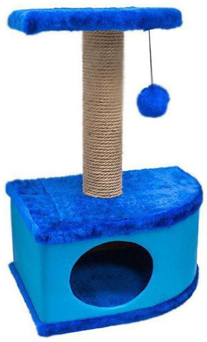 Домик-когтеточка Дарэлл Конфетти, угловой, цвет: синий, 49 х 37 х 70 см0120710Домик-когтеточка Дарэлл Конфетти угловой, с фигурной полкой и помпоном в цвет домика. Изготовлен из ДСП и ДВП, обитых искусственным мехом и экокожей. Столбик-когтеточка обмотан джутом. Благодаря простоте формы и множеству цветовых оттенков, домик легко впишется в любой интерьер. Для удобства в перевозке, домик легко собирается и разбирается. В комплект входят инструкция и ключ для сборки.