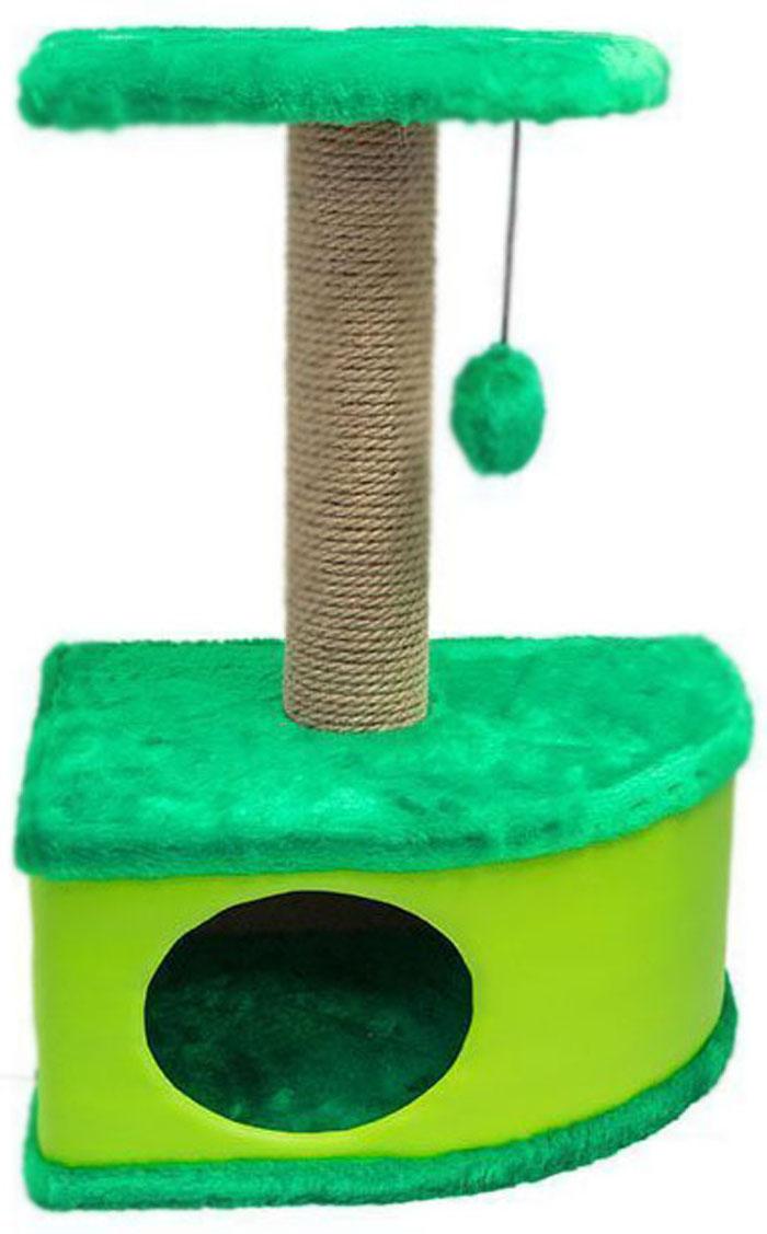 Домик-когтеточка Дарэлл Конфетти, угловой, цвет: зеленый, 49 х 37 х 70 см0120710Домик-когтеточка Дарэлл Конфетти угловой, с фигурной полкой и помпоном в цвет домика. Изготовлен из ДСП и ДВП, обитых искусственным мехом и экокожей. Столбик-когтеточка обмотан джутом. Благодаря простоте формы и множеству цветовых оттенков, домик легко впишется в любой интерьер. Для удобства в перевозке, домик легко собирается и разбирается. В комплект входят инструкция и ключ для сборки.