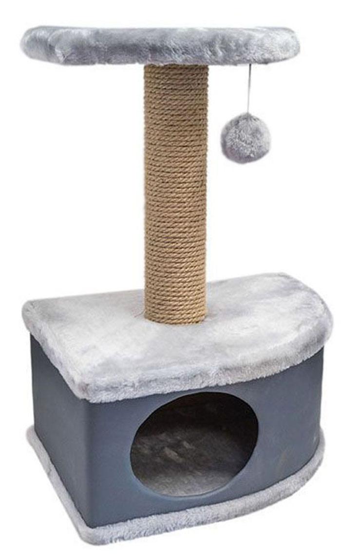 Домик-когтеточка Дарэлл  Конфетти , угловой, цвет: серый, 49 х 37 х 70 см