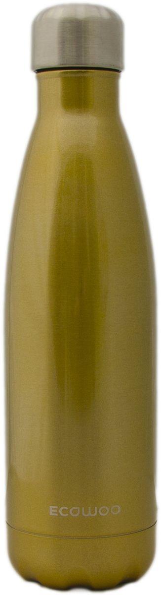 Бутылка-термос EcoWoo, цвет: золотой, 500 млVT-1520(SR)Бутылка-термос EcoWoo сохранит ваш напиток холодным в течение 24 часов или горячим в течение 12 часов. Изготовлено из двухслойной нержавеющей стали. Не содержит БФА. Вакуумная крышка позволяет сохранять жидкости и соки свежими. Изделие сочетает в себе функциональность, практичность и экологичность.