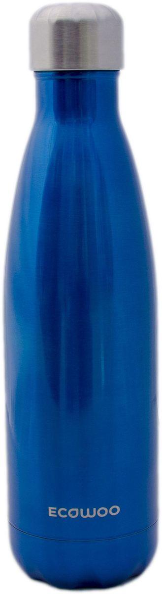 Бутылка-термос EcoWoo, цвет: синий металлик, 500 млVT-1520(SR)Бутылка-термос EcoWoo сохранит ваш напиток холодным в течение 24 часов или горячим в течение 12 часов. Изготовлено из двухслойной нержавеющей стали. Не содержит БФА. Вакуумная крышка позволяет сохранять жидкости и соки свежими. Изделие сочетает в себе функциональность, практичность и экологичность.