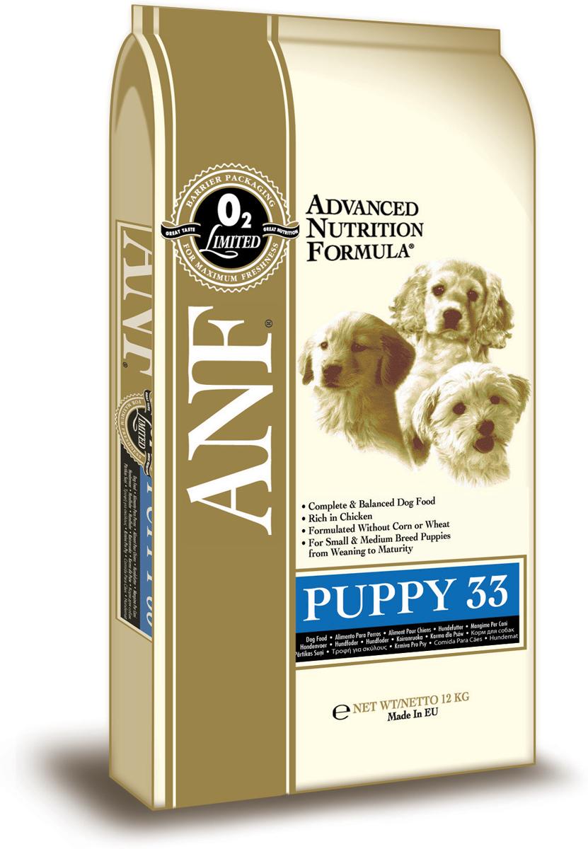Корм сухой ANF Puppy 33 для щенков, беременных и кормящих собак, 12 кг0120710Великолепный вкус и небольшие размеры гранул, специально для щенков. Прекрасно сбалансированный состав для правильного роста щенков мелких пород (до 10 кг) и средних пород. Отличный выбор в качестве первого корма для щенков средних и крупных пород, отлучаемых от матери (возрастом до 4 месяцев). Достаточное количество белков и кальция для здорового роста. Рацион подходит для щенков крупных пород в период от начала прикорма до 4-х месяцев (далее использовать рацион Junior 28). Рацион рекомендован беременным и кормящим сукам.Состав: куриная мука (мин. 45%), дробленый белый рис, куриный жир (содержащий консерванты из токоферолов), овес, свекловичный жом, яичный порошок, рыбная мука, льняное семя, соус из куриной печени, карбонат кальция, хлорид калия, рыбий жир, хлорид натрия, холинхлорид, пивные дрожжи, смесь токоферола (витамин Е) (альфа-токоферола ацетат), экстракт Yucca Schidigera, аскорбил монофосфат, сульфат железа, сульфат цинка, сульфат марганца, сульфат меди, смесь витамина В12, смесь витамина А (ретинилацетат), витамин РР, смесь селенита натрия, смесь витамина D3 (холекальциферол), смесь витамина Н (биотин), пантотенат кальция, витамин В1 (тиамина мононинрат), смесь витмина В2 (рибофлавин), витамин В6 ( пиридоксина гидрохлорид), йодат кальция, фолиевая кислота. Гарантированный состав: белок - 33%, жир - 18%, сырая зола - 9,5%, сырая клетчатка - 3,5%, влажность - 8%, кальций (Ca) - 2,14%, фосфор (P) - 1,21%, жирные кислоты Омега-6 - 3,03%, жирные кислоты Омега-3 - 0,85%, витамин А - 25,694 МЕ/кг, витамин D3 - 2,292 МЕ/кг, витамин Е - 182 МЕ/кг, витамин С - 185 мг/кг, пентагидрат сульфата меди - 61,11 мг/кг. Энергетическая ценность: 367 ккал/100г.Товар сертифицирован.