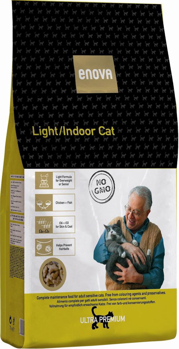 Сухой корм Enova Кет Лайт/Индоор, для взрослых кошек, склонных к ожирению или домашних, 1,5 кг0120710Сбалансированное питание для кошек, склонных к полноте, домашних кошек, ведущих малоподвижный образ жизни, а также кошек старше 7 лет. Низкокалорийный рацион с пониженным содержанием жира для взрослых кошек с избыточным весом или кошек, склонных к полноте. Корм подходит для кошек старше 7 лет. Курица, рыба, яйца - источники животного белка. Омега-6+Омега3 - правильное соотношение. Специальная смесь из растительных волокон. Пониженное содержание магния предотвращает развитие мочекаменной болезни струвитного типа.СОСТАВ:дегидратированное мясо курицы (мин.21,5%), рис, куриный жир, рисовый глютен, коричневый рис, рыбная мука, мука из печени, белковый гидролизат, яичный порошок, льняное семя, сушеная свекольная пульпа, целлюлоза, рисовые отруби, рыбий жир, сухие дрожжи, порошок цикория, калия хлорид, натрия хлорид. АНТИОКСИДАНТЫ: токоферолы, пропилгаллат. АНАЛИЗ: белок 27,5%, жиры 13%, клетчатка 3,5%, зола 7%, кальций 1,15%, фосфор 1,1%, магний 0,07%, влажность 10%, Омега6 1,7%, Омега3 0,8%. ВИТАМИНЫ И ДОБАВКИ НА 1 КГ: Витамин А - 16,500 МЕ, Витамин D3 - 1,500 МЕ, Витамин Е (альфа-токоферол) - 150 мг, Медь (пятиводный сульфат меди) - 10 мг, Окись цинка - 30 мг, Цинка хелат - 40 мг, Йод - 2 мг, Селен - 0,2 мг, Таурин - 1,300 мг. Энергетическая ценность: 3678 Ккал/кг.