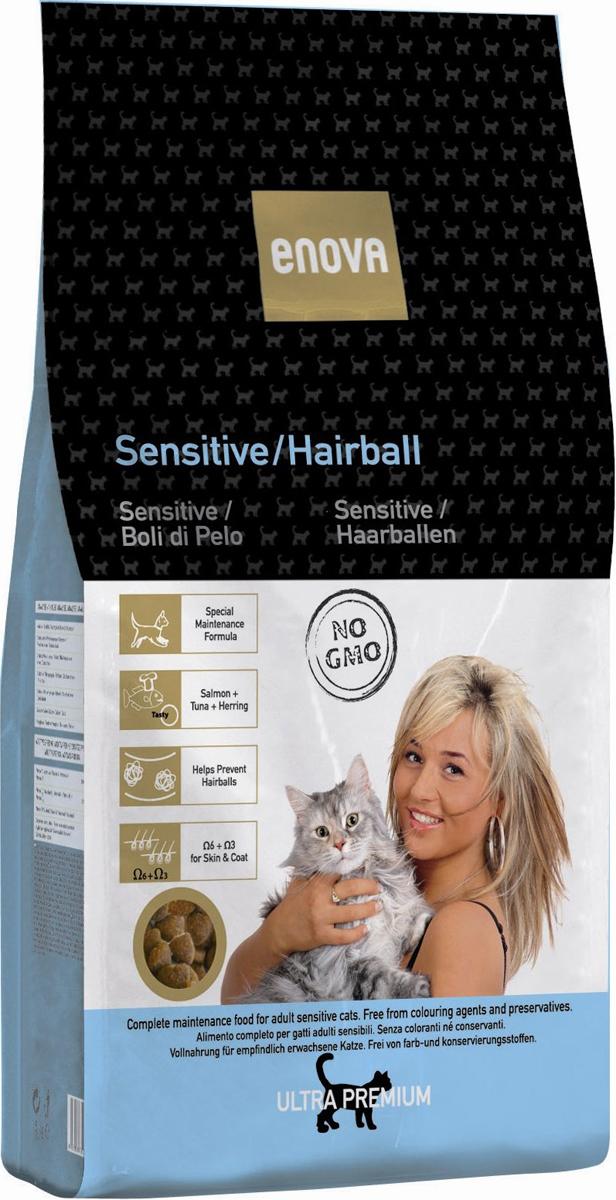 Сухой корм Enova Кет Сенситив/Хаирболл, для взрослых кошек, для выведения шерсти из желудка, 1,5 кг65141Сбалансированное питание для взрослых кошек с чувствительным пищеварением/для вывода волосяных комочков из пищеварителного тракта. Сбалансированный рацион для взрослых кошек всех пород. Рыба, как главный ингредиент - БЕЗ МЯСА. Омега-6+Омега-3. Специальная смесь из растительных волокон. Пониженное содержание магния предотвращает развитие мочекаменной болезни струвитного типа.СОСТАВ: рыбная мука (мин.17,5%) (лосось 5%, тунец мин.5%, сельдь мин.5%), рис, куриный жир, коричневый рис, рисовый глютен, мука из печени, белковый гидролизат, яичный порошок, льняное семя, сушеная свекольная пульпа, целлюлоза, рисовые отруби, рыбий жир, сушеные дрожжи, дикальций фосфат, порошок цикория, хлорид калия. АНТИОКСИДАНТЫ: токоферолы, пропилгаллат. АНАЛИЗ: белок 28%, жиры 20,5%, клетчатка 3,5%, зола 7%, кальций 1,15%, фосфор 1,05%, магний 0,07%, влажность 10%, Омега6 2,4%, Омега3 1%. ВИТАМИНЫ И ДОБАВКИ НА 1 КГ: Витамин А - 16,500 МЕ, Витамин D3 - 1,500 МЕ, Витамин Е - 150 мг, Медь - 10 мг, Окись цинка - 30 мг, Цинка хелат - 40 мг, Йод - 2 мг, Селен - 0,2 мг, Таурин - 1,300 мг. Энергетическая ценность: 3929 Ккал/кг.
