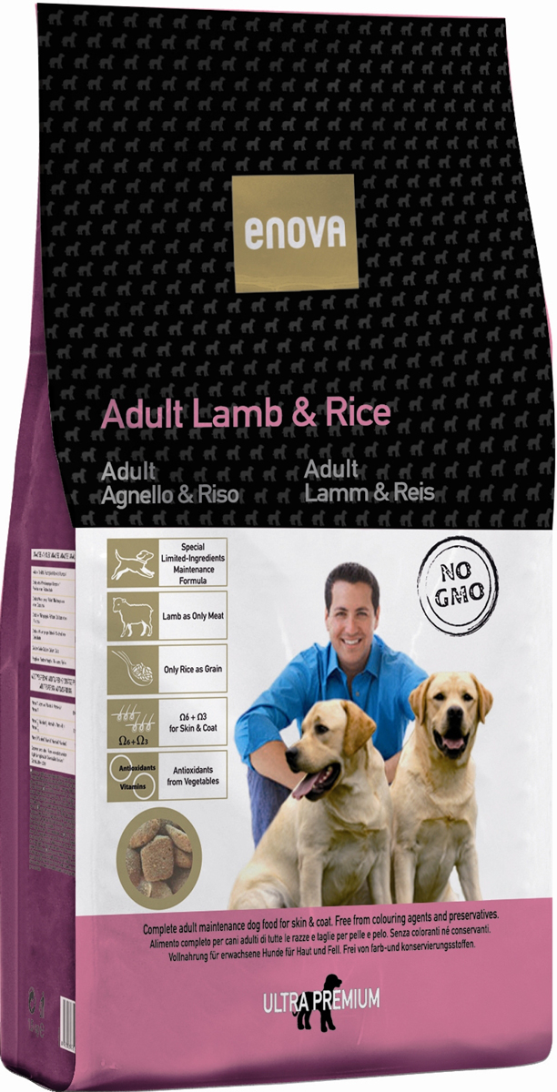 Корм сухой Enova для взрослых собак всех пород, с ягненком и рисом, 14 кгCS609Сухой корм Enova - сбалансированная гипоаллергенная формула для взрослых собак всех пород. Полноценный и сбалансированный рацион, обеспечивающий отличное самочувствие собак и здоровый внешний вид. Снижает риск возникновения пищевых аллергий, улучшает состояния кожи и шерсти, даже при наличии зуда, выпадении волос или перхоти у животного. Преимущества корма:- мясо ягненка является мясным ингредиентом высокого качества, хорошо известным своими гипоаллергенными свойствами;- в рационе не используется кукуруза, пшеница, сорго и другие глютеносодержащие злаковые, что позволяет снизить риск пищевых аллергий;- рацион содержит незаменимые жирные кислоты в правильных пропорциях и объеме, что способствует поддержанию здоровья кожи;- входящие в состав овощи и лекарственные травы являются натуральным источником витаминов и антиоксидантов в природной, наиболее биодоступной форме, что позволяет обеспечить защиту организма от повреждений, вызванных свободными радикалами. Состав: дегидратированное мясо ягненка (минимум 26%), рис (минимум 26%), коричневый рис, куриный жир, яичный порошок, рисовые отруби, льняное семя, сушеная свекольная пульпа, гидролизат белка, рыбий жир, сушеная морковь, сушеный томатный жмых, сушеные водоросли, целлюлоза, калия хлорид, натрия хлорид, глюкозамин 500 мг/кг, хондроитина сульфат 500 мг/кг, экстракт розмарина. Антиоксиданты: токоферолы, пропилгаллат. Анализ: белок 23%, жиры 15,5%, клетчатка 2,5%, зола 9%, кальций 1,6%, фосфор 1,25%, влажность 10%, Омега6 2%, Омега3 1%. Витамины и добавки на 1 кг: витамин A: 13.000 М.Е, витамин D3: 1.300 М.Е, витамин Е: 200 мг, медь 10 мг, окись цинка: 70 мг, йод: 2 мг, селен: 0,2мг. Энергетическая ценность: 15,9 МДж/кг.Товар сертифицирован.