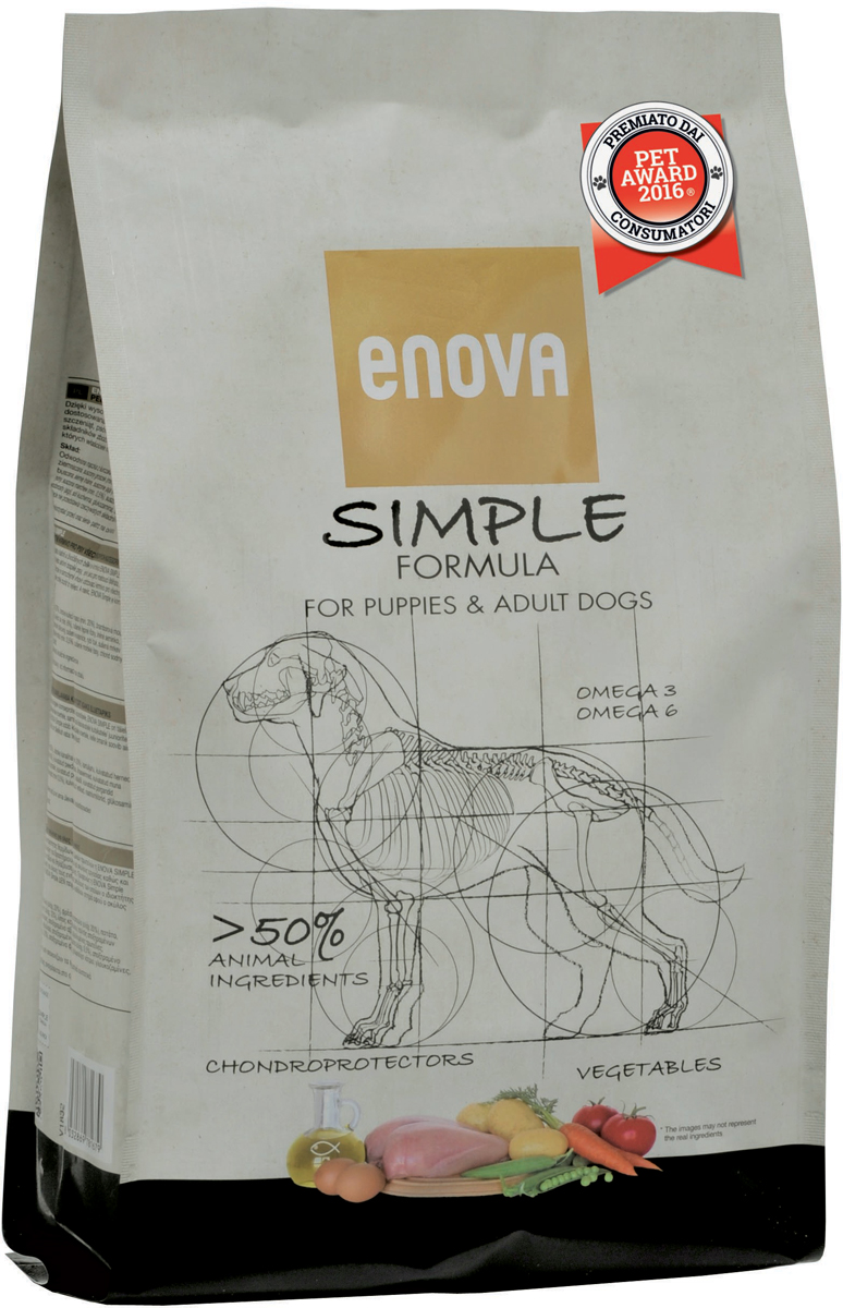 Корм сухой Enova Simple Formula для собак всех возрастов и пород, без глютена и зерна, 2 кгCS510Сухой корм Enova Simple Formula - питание для собак всех возрастов и пород. Преимущества корма:- содержит более 50% ингредиентов животного происхождения высокой биологической ценности для обеспечения питательных потребностей истинного хищника;- беззерновая формула предупреждает развитие пищевых аллергий и проблем, связанных с желудочно-кишечным трактом;- специально подобранный комплекс поддержит суставы, что крайне важно для щенков в период активного роста и собак ведущих активный образ жизни.Состав: дегидратированное мясо курицы (минимум 23%), свежее мясо курицы (минимум 20%), картофельная мука, сушеный горох (минимум 12%), куриный жир (минимум 6%), сушеная свекольная пульпа, льняное семя, дегидратированное яйцо (минимум 3%), гидролизат белка, сухие дрожжи, рыбий жир, сушеная морковь (минимум 0,5%), сушеный томатный жмых (минимум 0,5%), сушеные водоросли, натрия хлорид, глюкозамин 250 мг/кг, хондроитина гидрохлорид 250 мг/кг. Анализ: белок 31,5%, жиры 19,5%, клетчатка 6,8%, кальций 1,35%, фосфор 1%, влажность 10%, Омега6 2,7%, Омега3 1%. Энергетическая ценность: 3989 Ккал/кг.