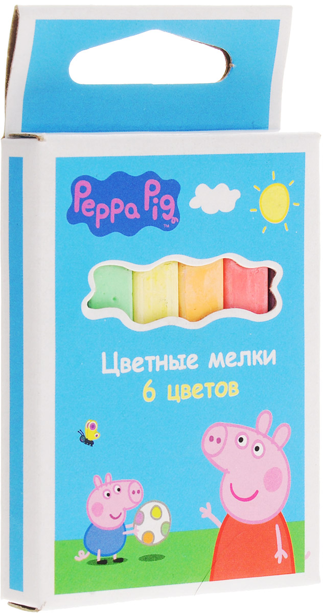 Peppa Pig Цветные мелки Свинка Пеппа 6 цветовFS-00264Набор цветных мелков ТМ Свинка Пеппа поможет детям создавать яркие большие картины на асфальте и других шероховатых поверхностях, развивая их творческие способности, воображение, цветовосприятие и моторику рук. В набор входит 6 разноцветных мелков с удобным квадратным сечением. Мелки имеют яркие цвета, прочны, устойчивы к стиранию.Для детей старше трех лет.