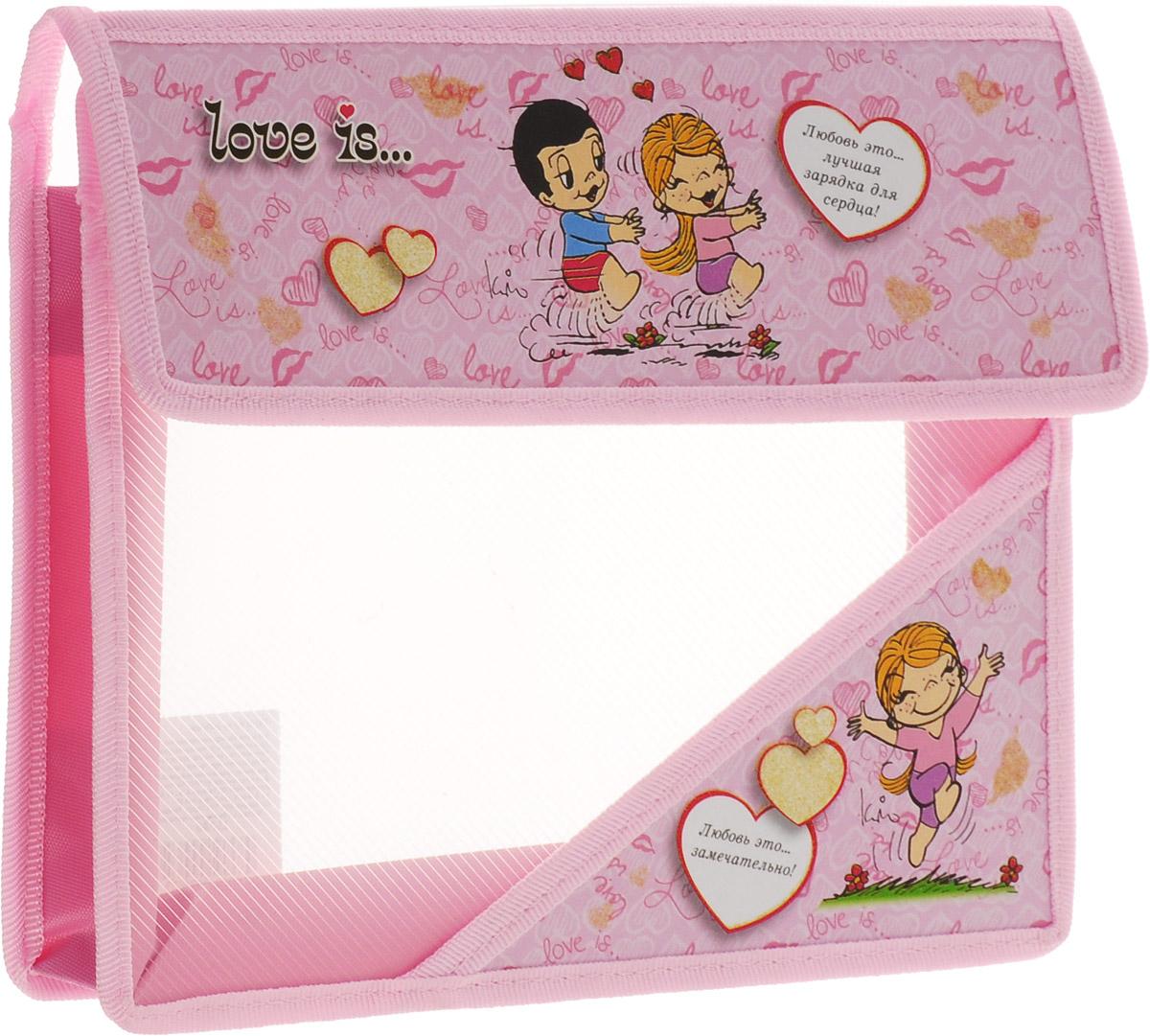 Action! Папка для тетрадей Love is цвет розовыйFS-36052Папка Action! Love is предназначена для хранения тетрадей, рисунков и прочих бумаг с максимальным форматом А5. Папка выполнена из прочного материала и содержит одно отделение. Закрывается она клапаном на липучку. С папкой Action! Love is тетради вашего ребенка всегда будут выглядеть опрятно.