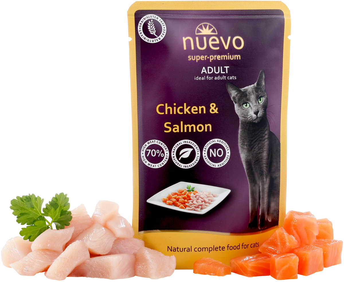 Консервы Nuevo для взрослых кошек, с мясом курицы и лососем, 85 г95207Консервы Nuevo - деликатесное мясо лосося в сочетании со свежим мясом курицы доставит истинное наслаждение вашей кошке. Оптимальное сочетание куриного белка и мяса лосося обеспечивает животное всеми необходимыми витаминами и минералами, а масло лосося является незаменимым источником жирных кислот Омега6/Омега3 в оптимальных пропорциях для здоровья кожи и блеска шерсти. Данный рацион рекомендован даже для кошек с особо изысканным вкусом. Состав: 72% мяса (42% мяса курицы, 30% мяса лосося), 26,5% бульона, 1% минералов, 0,5% масла лосося. Анализ: белок 10,8%, жир 6,5%, сырая зола 2,4%, сырая клетчатка 0,5%, влага 79%, кальций 0,25%, фосфор 0,20%, таурин 1500 мг.Товар сертифицирован.