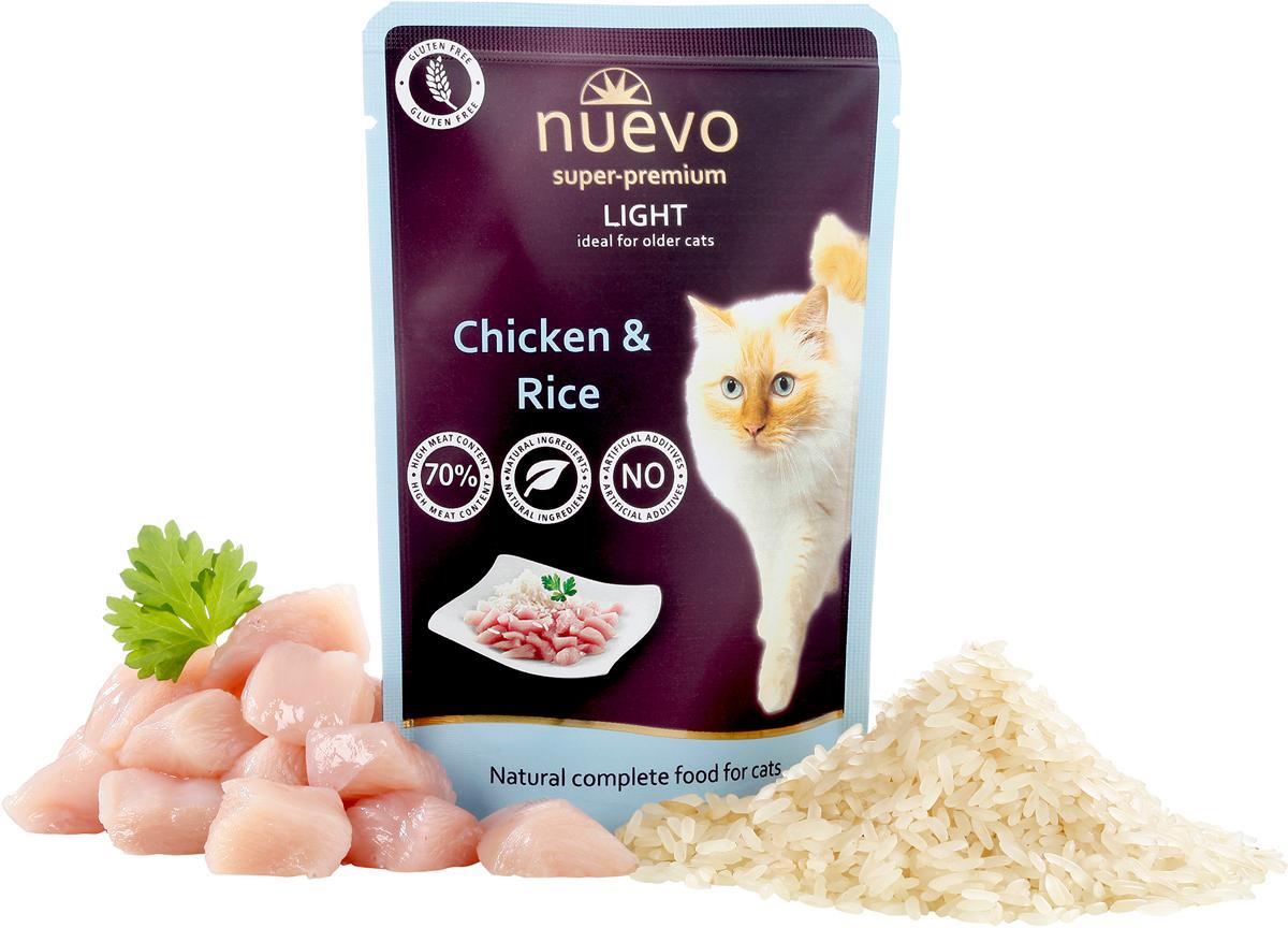 Консервы Nuevo Лайт Чикен энд Райс, для кошек, склонных к излишнему весу, 85 г478Рацион NUEVO LIGHT разработан специально для животных, ведущих малоподвижный образ жизни. Рацион имеет пониженное содержание жиров - всего 3,9% и пониженный уровень белка - 8,6%. Ограниченное потребление калорий позволяет контролировать вес животного безопасным и здоровым образом.ИНГРЕДИЕНТЫ: 64% мяса (40% мяса курицы, 24% мяса домашней птицы), 29% бульон, 3% риса, 3% целлюлозы, 1% минералов. АНАЛИЗ: белок 8,6%, жир 3,9%, сырая зола 2,5%, сырая клетчатка 0,5%, влага 79%, кальций 0,25%, фосфор 0,20%, таурин 1500мг