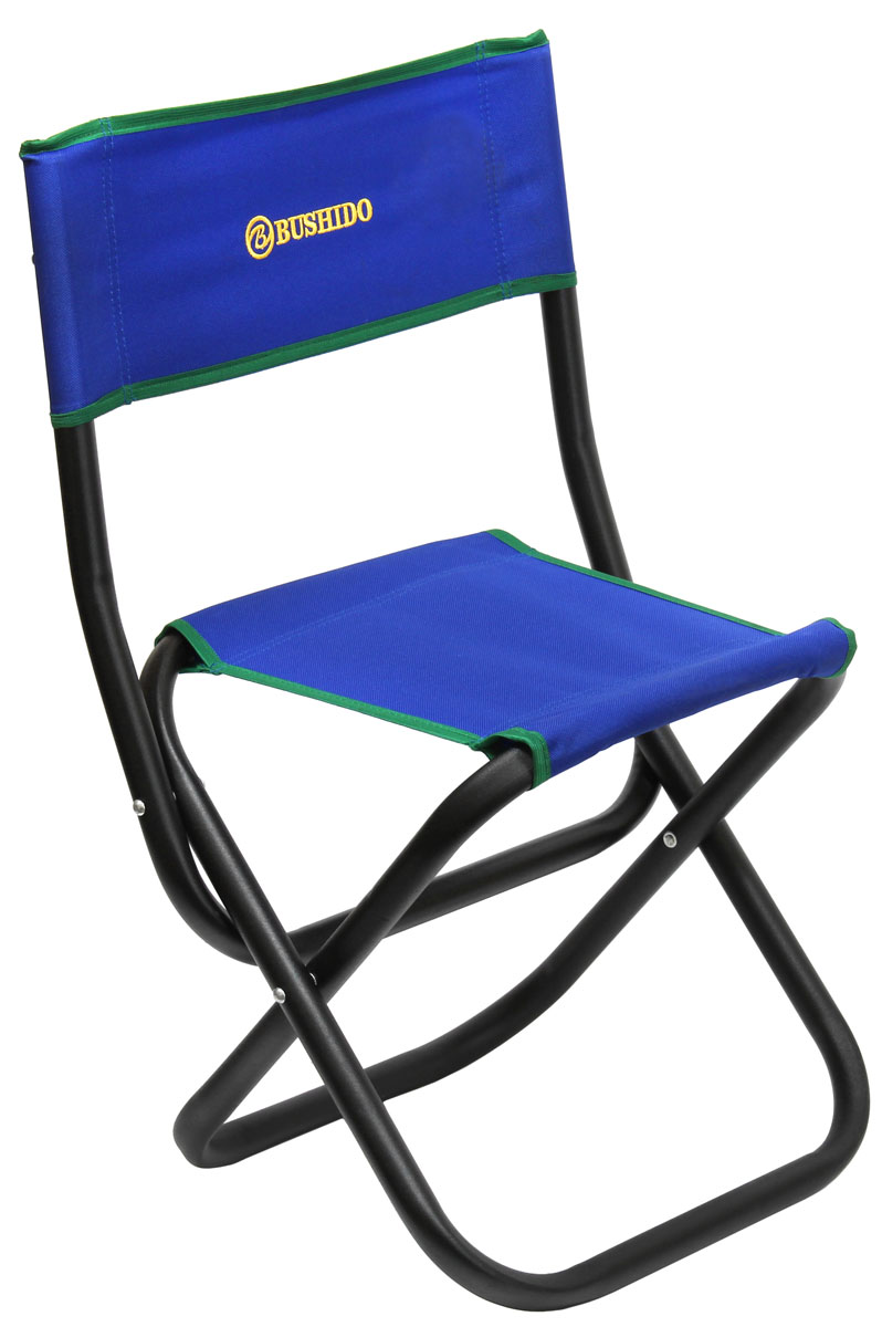 Стул складной Bushido, со спинкой, цвет: синий, 60 х 35 х 28 х 33 смAS009Складной стул со спинкой. Размер: 600 х 350 х 280 х 330 мм. Диаметр трубы - 22 мм. Максимальная нагрузка 100 кг. Предназначен для отдыха на природе, пикника или рыбалки.