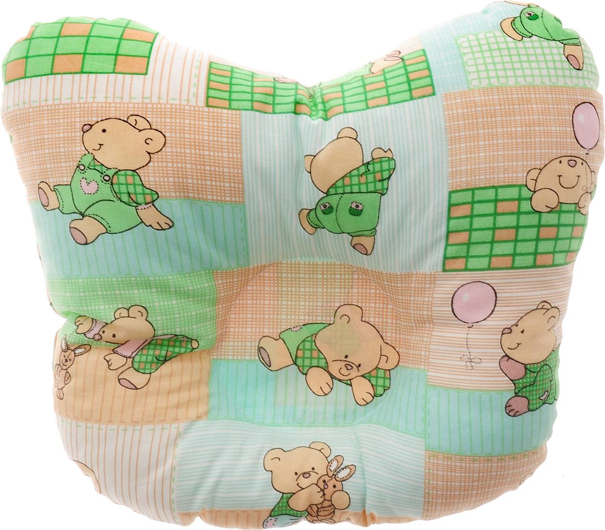 Сонный гномик Подушка анатомическая для младенцев Мишки и заяц цвет светло-зеленый бежевый 27 х 27 см