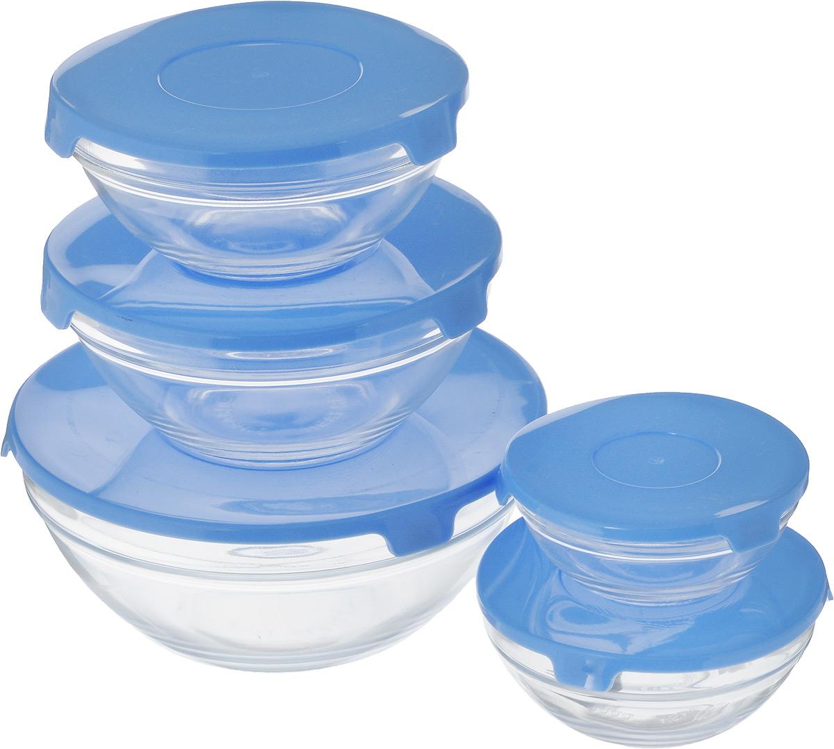 Набор салатников Wellberg Comfort, с крышками, цвет: прозрачный, синий, 5 шт54 009312Набор Wellberg Comfort состоит из 5 круглых салатников, выполненных из прочного стекла, и 5 пластиковых крышек. Изделия прекрасно подходят для сервировки салатов и закусок, маленькие салатники идеальны для подачи соусов. Поверхность изделий гладкая и ровная, легко чистится. Салатники снабжены плотно закрывающимися крышками, благодаря которым продукты удобно хранить в холодильнике. Такой набор станет практичным приобретением для вашей кухни. Изделия можно мыть в посудомоечной машине и использовать в микроволновой печи. Диаметр салатников: 9 см, 10,5 см, 12,5 см, 14 см, 17 см. Высота салатников: 4 см, 4,8 см, 5,5 см, 6,2 см, 9 см.Объем салатников: 150 мл, 200 мл, 350 мл, 500 мл, 900 мл.