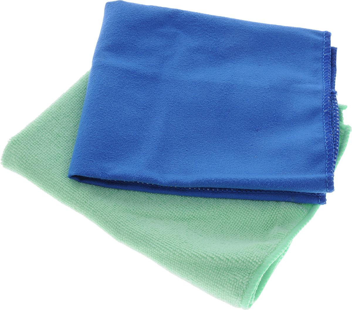 Салфетка чистящая Sapfire Cleaning Сloth & Suede, цвет: синий, салатовый, 35 х 40 см, 2 шт96281389Благодаря своей уникальной ворсовой структуре, салфетки Sapfire Cleaning Сloth & Suede прекрасно подходят для мытья и полировки автомобиля.Материал салфеток: микрофибра (85% полиэстер и 15% полиамид), обладает уникальной способностью быстро впитывать большой объем жидкости. Клиновидные микроскопические волокна захватывают и легко удерживают частички пыли, жировой и никотиновый налет, микроорганизмы, в том числе болезнетворные и вызывающие аллергию. Протертая поверхность становится идеально чистой, сухой, блестящей, без разводов и ворсинок. Допускается машинная и ручная стирка слабым моющим раствором в теплой воде.Отбеливание и глажка запрещены.Размер салфеток: 35 х 40 см.