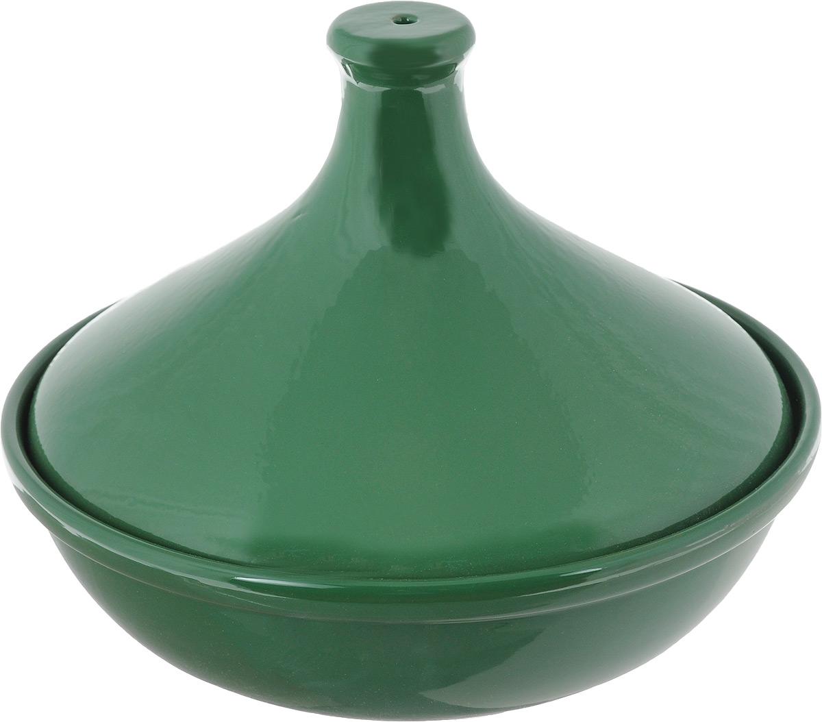 Тажин Борисовская керамика Радуга, цвет: зеленый, 1 лРАД00000749_зеленыйТажин Борисовская керамика Радуга изготовлен из высококачественной жаропрочной керамики - полностью натурального материала (без примеси металлов), идеально подходящего для медленного и равномерного приготовления пищи. Керамика гарантирует правильный здоровый подход к кулинарии: любые блюда получаются ароматными и сохраняют все полезные вещества, не подвергаясь перепадам температур в процессе приготовления. Благодаря медленному распределению тепла, вкусы и запахи продуктов концентрируются и становятся более насыщенными. Керамическая посуда обладает свойством долго сохранять тепло после того, как блюдо было снято с огня, и легко удерживать холод после того, как блюдо достали из холодильника. Благодаря конусообразной форме крышки, пар, поднимающийся от готовящегося блюда, многократно конденсируется в верхней ее части и спускается вниз, поэтому мясо, рыба и овощи становятся очень нежными и приобретают особый вкус. Доверьтесь интуиции и инстинктам, как это делают марокканцы, и создайте свой собственный рецепт тажина!Диаметр по верхнему краю: 21,5 см.Высота стенки тажина (без учета крышки): 6 см. Высота (с учетом крышки): 16 см.