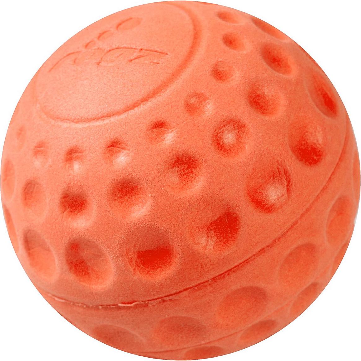 Игрушка для собак Rogz Asteroidz, цвет: оранжевый, диаметр 6,4 смGLG014Мяч для собак Rogz Asteroidz предназначен для игры с хозяином Принеси.Мяч имеет небольшой вес, не травмирует десны, не повреждает зубы, удобно носить в пасти.Отличная упругость для подпрыгивания.Изготовлено из особого термоэластопласта Sebs, обеспечивающего великолепную плавучесть в воде, поэтому игрушка отлично подходит для игры в водоеме. Материал изделия: EVA (этиленвинилацетат) - легкий мелкопористый материал, похожий на застывшую пену.Не токсичен.