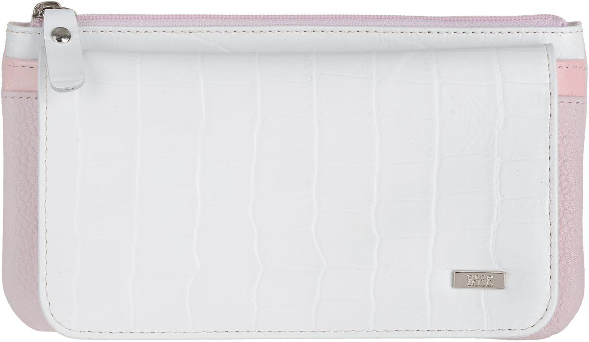 Кошелек женский Esse Инканто, цвет: белый, розовый. GINC00-00ML00-FJ005O-K100104-5860Женский кошелек оригинального дизайна с мягкими закруглёнными формами. Два отделения для купюр, восемь карманов для карт, дополнительный открытый карман. Закрывается на скрытую кнопку. На задней стенке увеличеное отделение для мелочи, закрывающееся на молнию