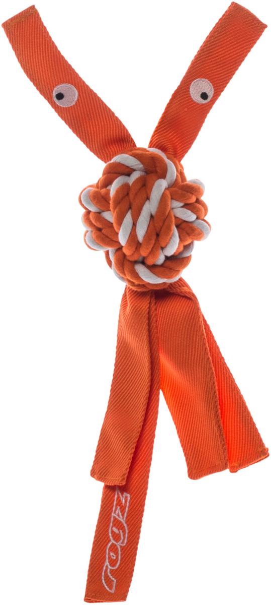 Игрушка для собак Rogz CowBoyz, цвет: оранжевый, 7,8 х 40 см0120710К пищалке, находящейся внутри игрушки Rogz CowBoyz, не останется равнодушной ни одна собака, а прочные и крепкие канаты обеспечат достойную тренировку жевательных мышц!Игрушка типа принеси и А ну-ка отними.Игрушка чистит зубы.