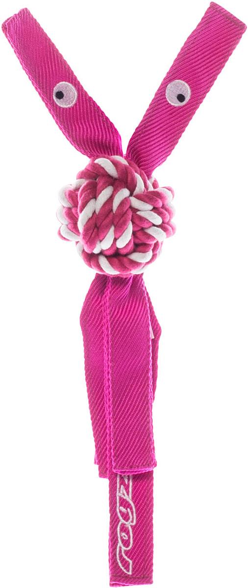 Игрушка для собак Rogz CowBoyz, цвет: розовый, 6,4 х 31 см0120710К пищалке, находящейся внутри игрушки Rogz CowBoyz, не останется равнодушной ни одна собака, а прочные и крепкие канаты обеспечат достойную тренировку жевательных мышц!Игрушка типа принеси и А ну-ка отними.Игрушка чистит зубы.