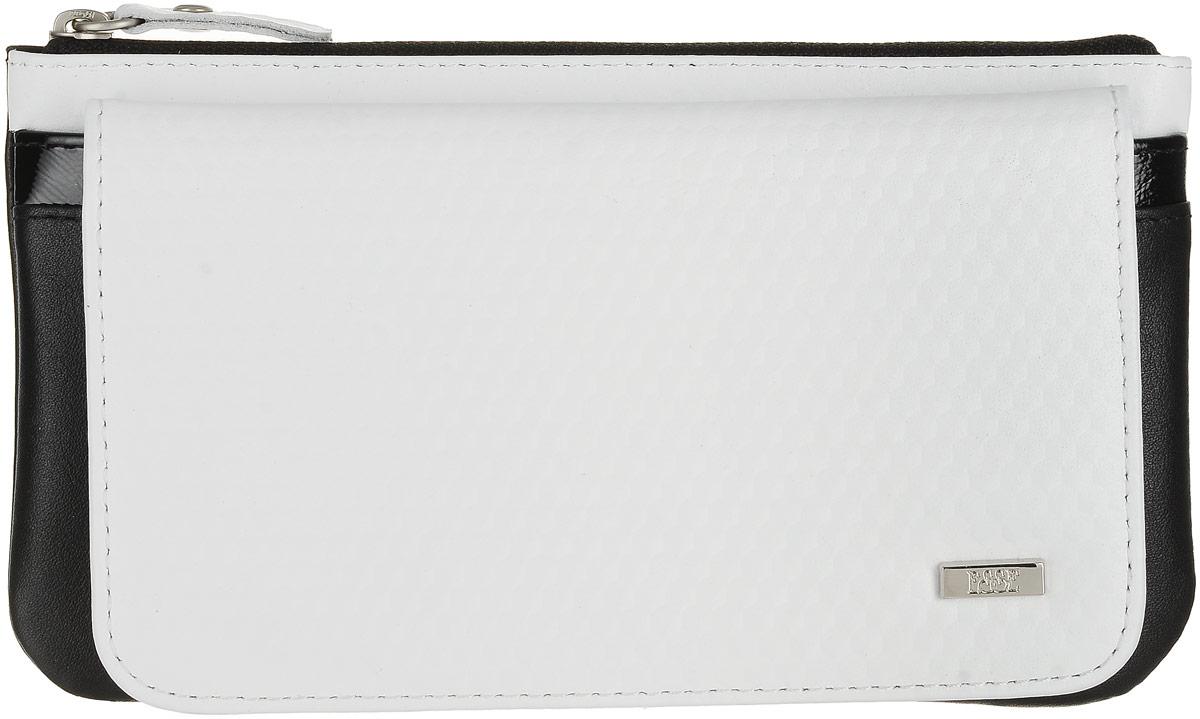 Кошелек женский Esse Инканто, цвет: белый, черный. GINC00-00ML00-D8303O-K100BM8434-58AEЖенский кошелек оригинального дизайна с мягкими закруглёнными формами. Два отделения для купюр, восемь карманов для карт, дополнительный открытый карман. Закрывается на скрытую кнопку. На задней стенке увеличеное отделение для мелочи, закрывающееся на молнию