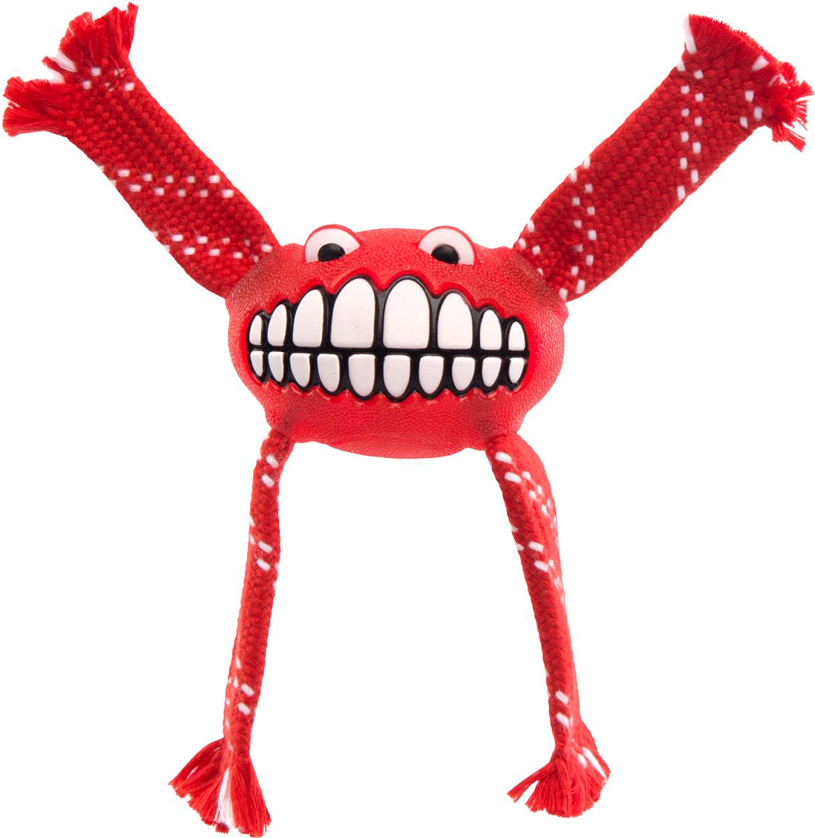 Игрушка для собак Rogz Flossy Grinz. Зубы, цвет: красный, длина 16,5 см0120710Игрушка типа Отними.Очень прочная и крепкая.Внутри – пищалка, что поддерживает интерес животного к игре..Уникальная функция игрушки - чистит язык и зубы. Термопластичная резина (TPR), хлопок