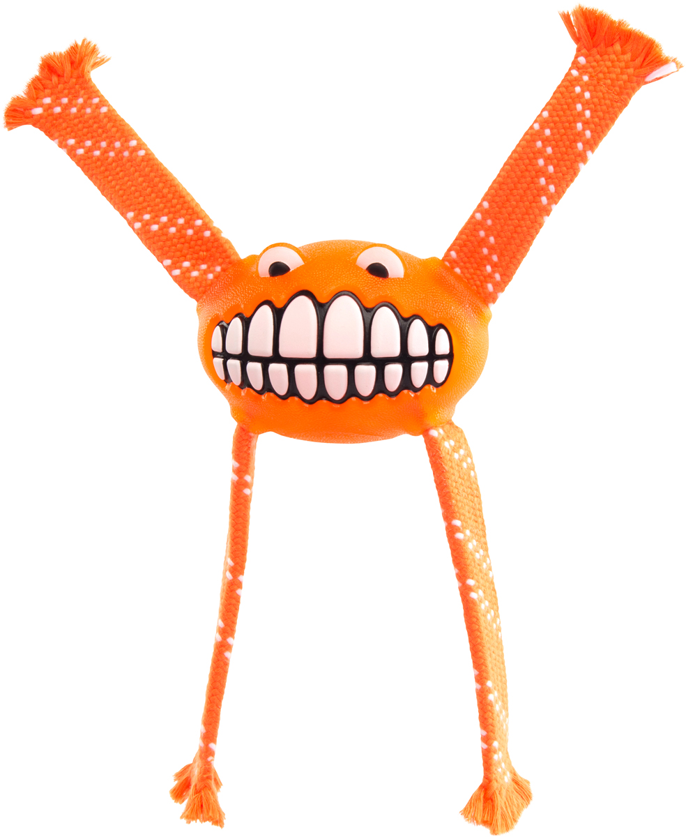 Игрушка для собак Rogz Flossy Grinz. Зубы, цвет: оранжевый, длина 21 смGLG023/AИгрушка для собак Rogz Flossy Grinz. Зубы типа Отними - очень прочная и крепкая.Внутри – пищалка, что поддерживает интерес животного к игре.Уникальная функция игрушки - чистит язык и зубы.