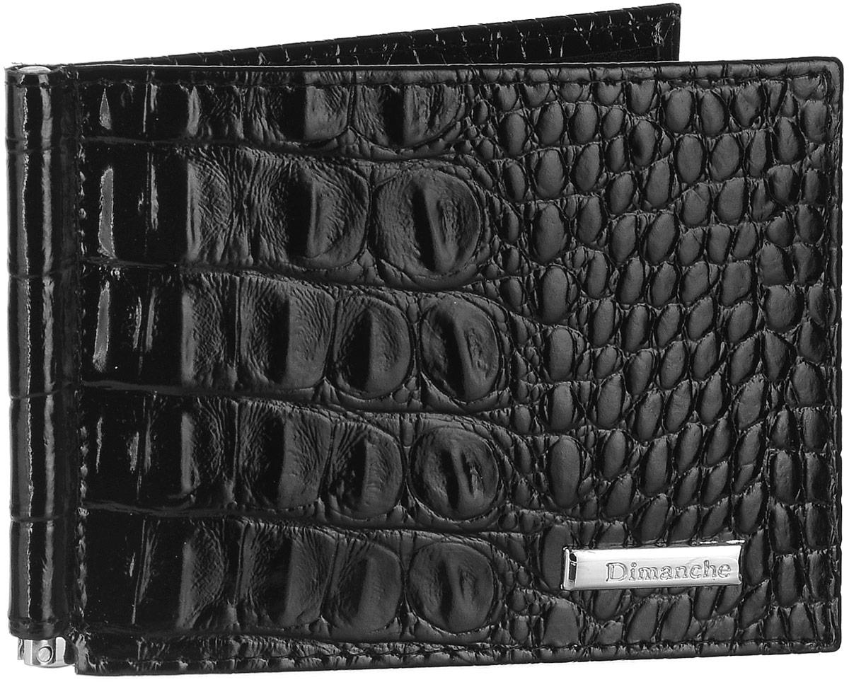 Зажим для денег Dimanche Loricata, цвет: черный. 385/1BM8434-58AEЗажим для денег Dimanche Loricata выполнен из натуральной блестящей кожи черного цвета с тиснением под рептилию и декорирован металлическим элементом с логотипом Dimanche. Внутри находятся фиксирующаяся в открытом положении металлическая скоба для купюр и восемь кармашков для кредитных карт или визиток, из которых два - потайные. Такой зажим станет отличным подарком для человека, ценящего качественные и стильные вещи.Зажим упакован в фирменную подарочную коробку.