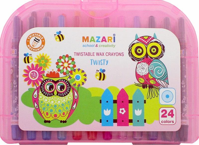 Mazari Мелки восковые Twisty 24 цвета цвет чемоданчика розовыйAC-1121RDНабор восковых мелков Mazari Twisty содержит 24 мелка ярких насыщенных цветов. Каждый мелок имеет пластиковый выкручивающийся корпус. Мелки обеспечивают удивительно мягкое письмо, позволяющее легко закрашивать большие площади. Мелки предназначены для рисования на бумаге, картоне, керамике и пластике. Не токсичны и абсолютно безопасны для детей.Мелки аккуратно упакованы в пластиковый чемоданчик.