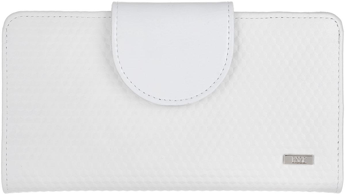 Кошелек женский Esse Мона, цвет: белый, серый. GMNA00-00KN00-D8303O-K1003607869369643Большой кошелек-купюрник, закрывающийся на хлястик. Внутри 4 отделения для купюр, 2 открытых кармана, 10 прорезных карманов для кредитных карт, отделение для мелочи, закрывающееся на молнию, пластиковое окно