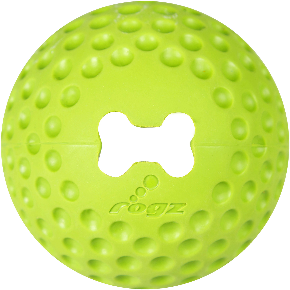 Игрушка для собак Rogz  Gumz , с отверстием для лакомства, цвет: лайм, диаметр 7,8 см - Игрушки