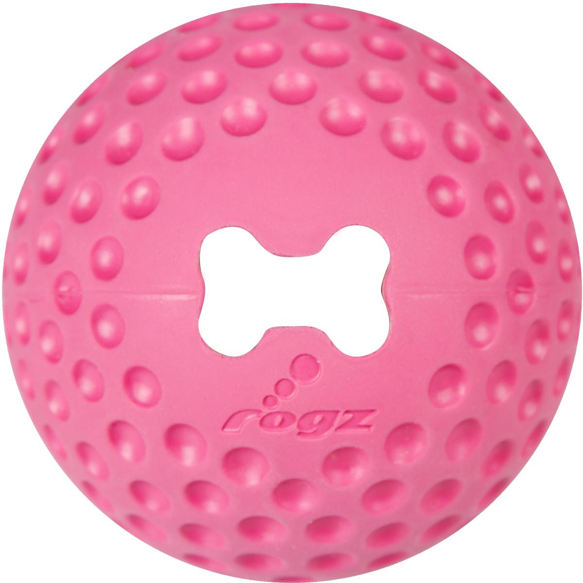 Игрушка для собак Rogz Gumz, с отверстием для лакомства, цвет: розовый, диаметр 6,4 см0120710Игрушка для собак Rogz Gumz тренирует жевательные мышцы и массирует десны собаке. Отлично подходит для дрессировки, так как есть отверстие для лакомства.Отлично подпрыгивает при играх.Занимательная игрушка выдерживает долгое жевание и разгрызание. Материал изделия: 85 % натуральной резины, 15 % синтетической резины. Не токсичен.