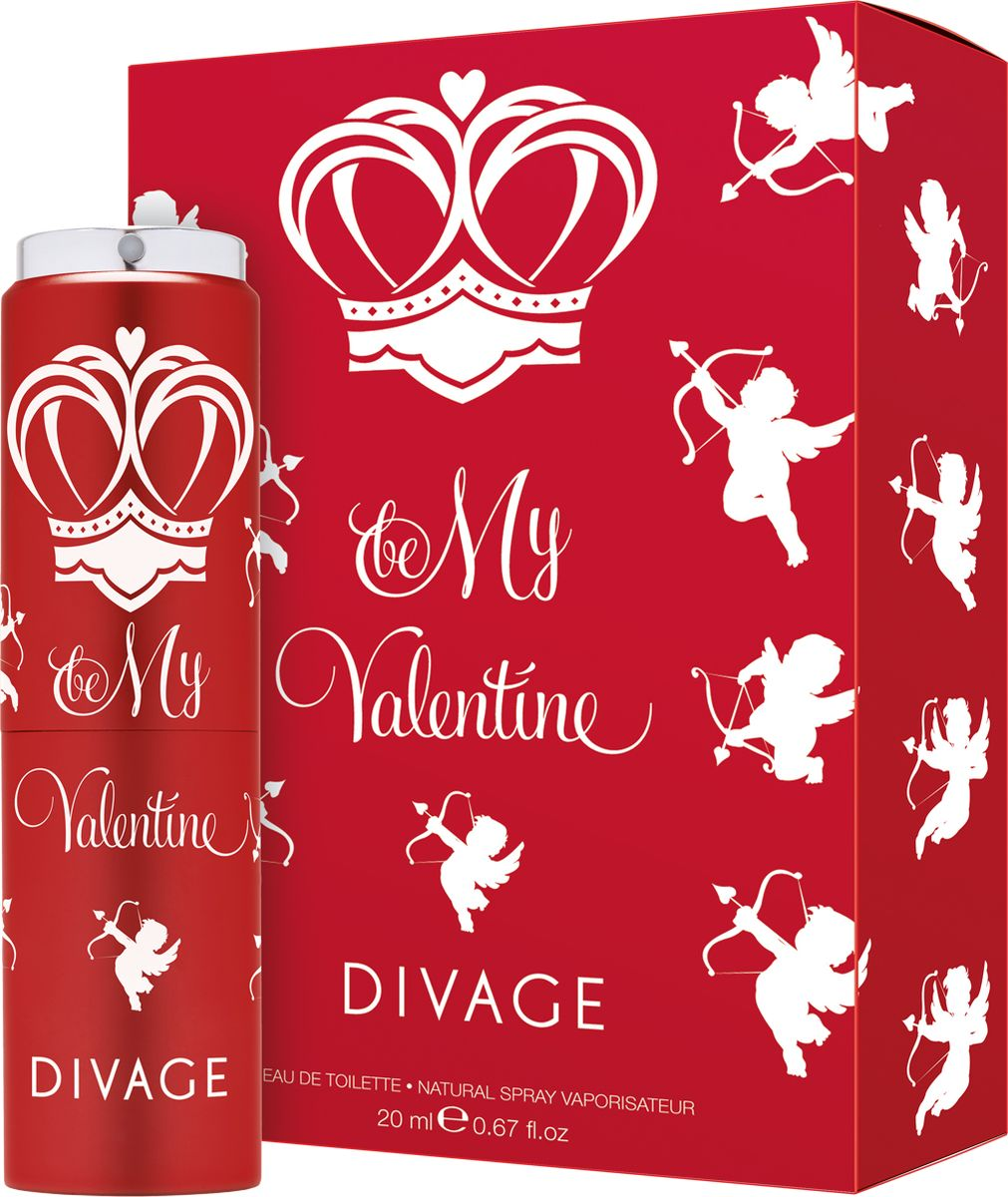 Divage Туалетная Вода Be my valentine 20 мл1301028Самая прекрасная история любви, воплощена в этом чувственном, цветочно-древесном аромате. Пленительный гальбанум, зеленый шипр, сладкий бархатный персик, роскошная и благоухающая белая роза плавно переплетаются с нежным мускусом и чувственным пачули и дарят настоящее романтическое настроение. Влюбляйся, целуй, будь невероятно женственной, обольстительной и привлекательной!