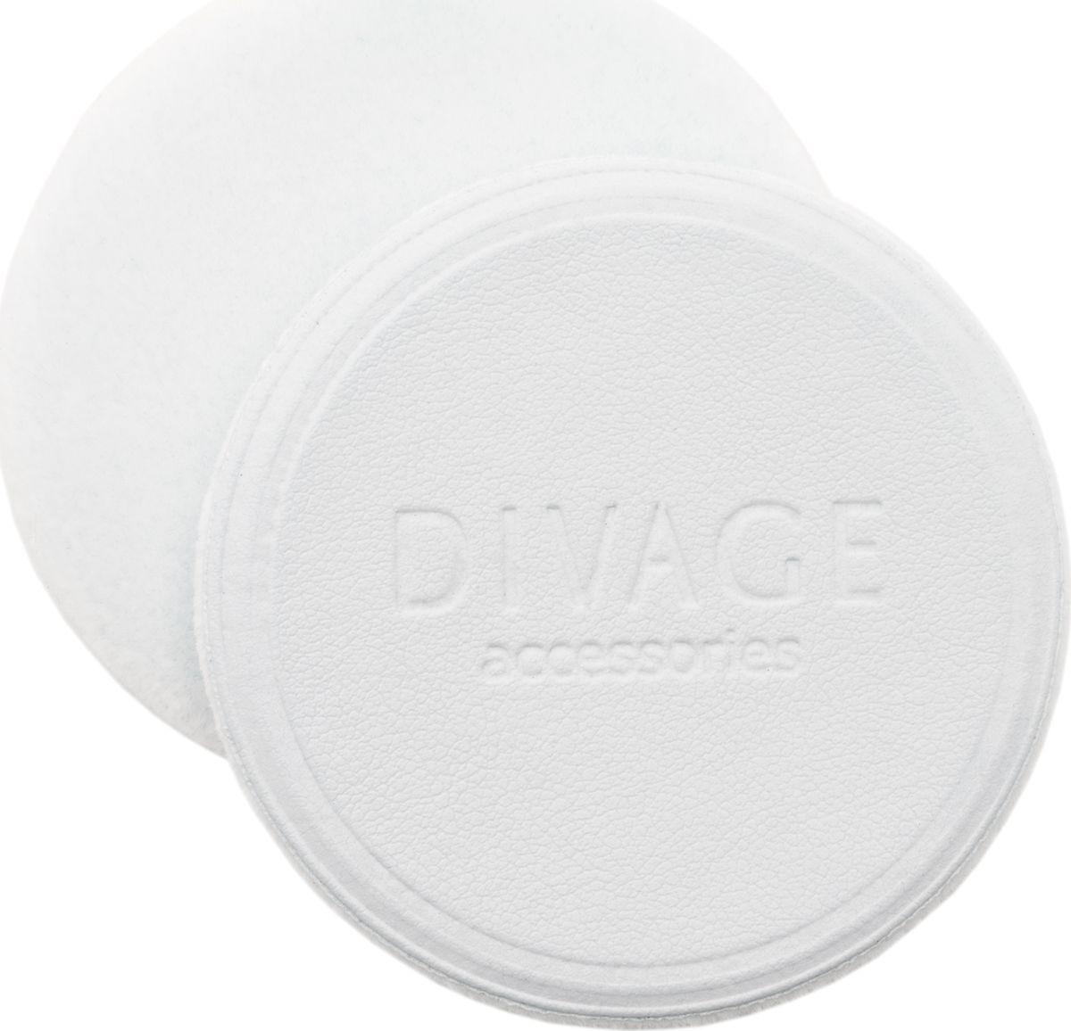 Divage Accessories - Спонж для пудры круглый, белый d60 ммmeizipuff-003Ультра мягкий флоковый спонж для нанесения и смешивания румян, а также для компактной или рассыпчатой пудры изготовлен из высококачественного микроволокна. Превращает процесс нанесения макияжа в удовольствие. Стильный дизайн и противоскользящая лицевая поверхность из искусственной кожи для наибольшего удобства в использовании. Имеет стандартный размер, подходящий для большинства пудрениц. СОВЕТ ОТ DIVAGE: Содержи флоковый спонж в чистоте. После применения тщательно промой теплой водой с мылом, бережно отожми, распрями и просуши для дальнейшего применения.