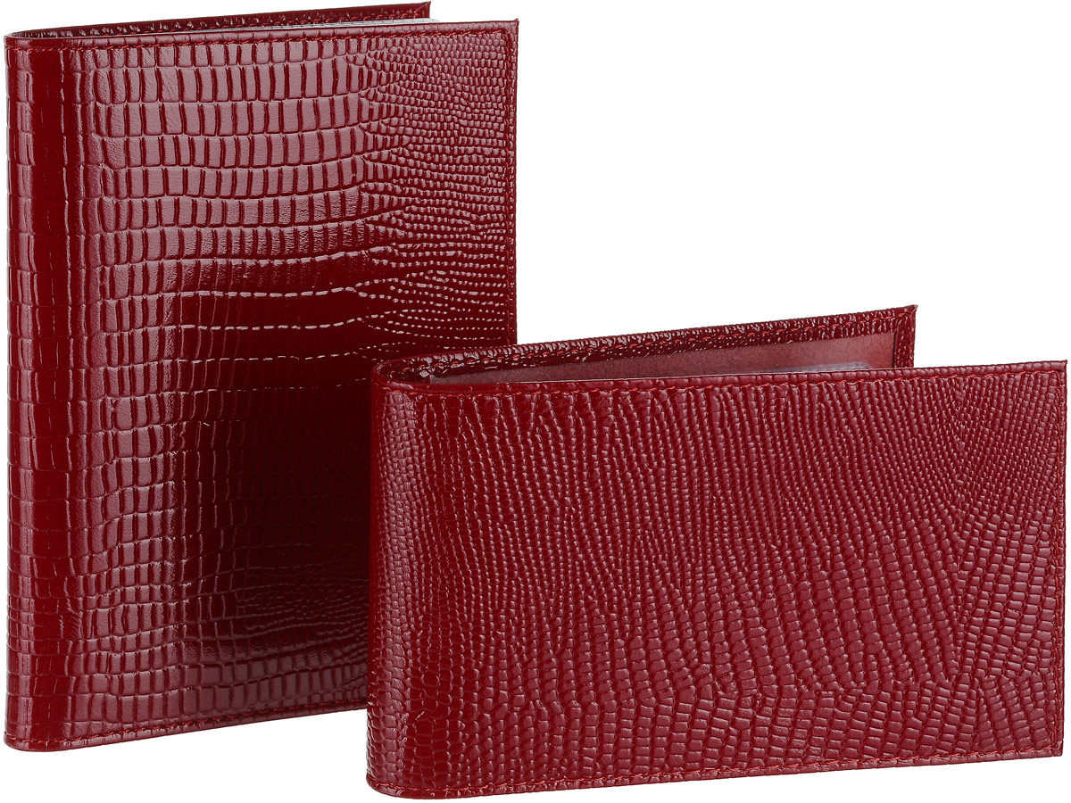 Подарочный набор Befler: бумажник водителя, визитница, цвет: красный. BV.1.-3.red/V.30.-3.redBV.1.-3.red/V.30.-3.redПодарочный набор Befler состоит из бумажника водителя и визитницы. Предметы набора выполнены из натуральной лаковой кожи с ярко выраженным рельефным рисунком под рептилию. Бумажник водителя Befler имеет внутри два вертикальных прозрачных кармана и внутренний блок для водительских документов из прозрачного пластика (6 карманов). Компактная горизонтальная визитница Befler - стильная вещь для хранения визиток. Визитница предназначена для хранения 20 визиток Подарочный набор Befler станет великолепным подарком для человека, ценящего качественные и практичные вещи. Характеристики:Материал: натуральная кожа, текстиль, металл. Размер бумажника (в закрытом виде): 9,2 см х 12,6 см х 1 см. Размер визитницы: 11,5 см х 7 см х 2 см. Цвет: красный. Артикул: BV.1.-3.red/V.30.-3.red.