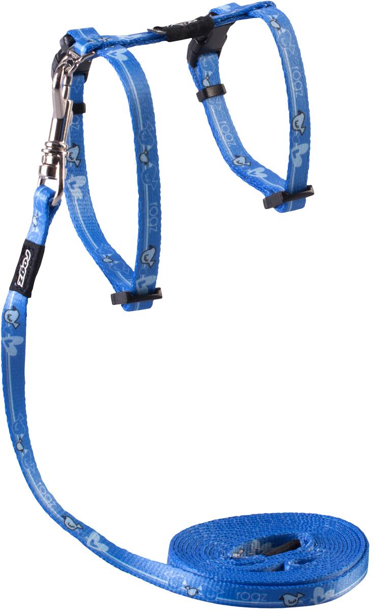 Комплект для кошек Rogz KiddyCat: шлейка, поводок, цвет: голубой. Размер XS101246Комплект для кошек Rogz KiddyCat состоит из шлейки и поводка. Уникальная система, присущая только продукции Rogz для кошек, позволяющей регулировать степень легкости раскрытия замка при различных нагрузках на замок (в зависимости от размера, веса и степени активности животного).Безопасность ваших питомцев - наш основной приоритет. Специально разработанный замок легко расстегивается при натяжении, если это необходимо. Например, если ваш питомец застрял на дереве или на заборе.