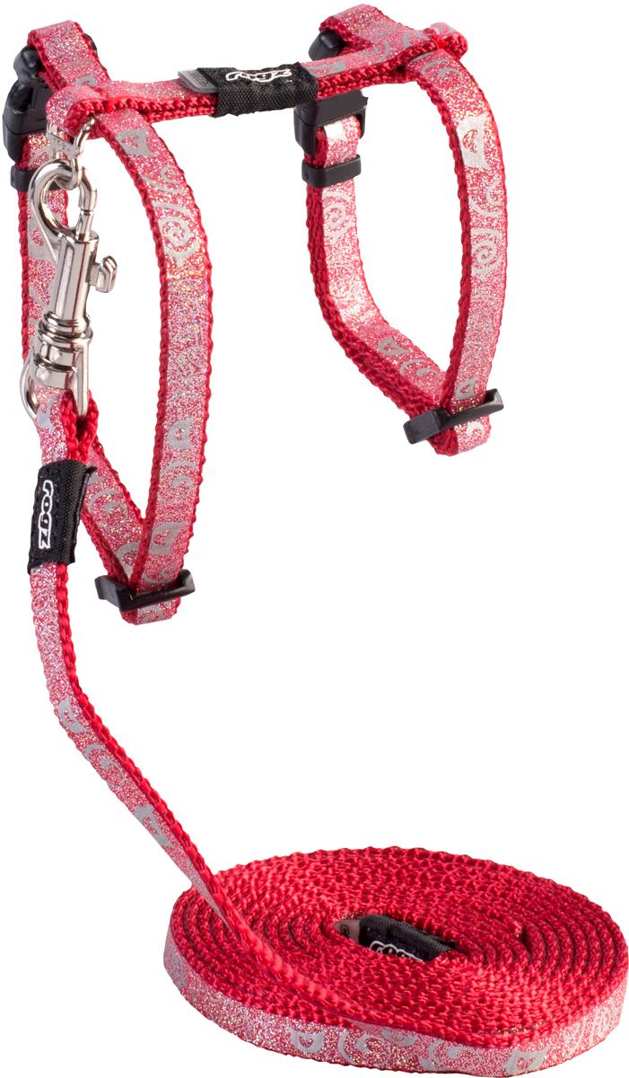 Комплект для кошек Rogz SparkleCat: шлейка, поводок, цвет: красный. Размер S0120710Комплект для кошек Rogz SparkleCat состоит из шлейки и поводка. Имеется мягкая внутренняя подкладка.Специально разработанный замок легко расстегивается при натяжении, если это необходимо. Например, если ваш питомец застрял на дереве или на заборе.Уникальная система, присущая только продукции Rogz для кошек, позволяет регулировать степень легкости раскрытия замка при различных нагрузках на замок (в зависимости от размера, веса и степени активности животного).